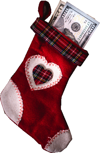 Christmas stocking with cash