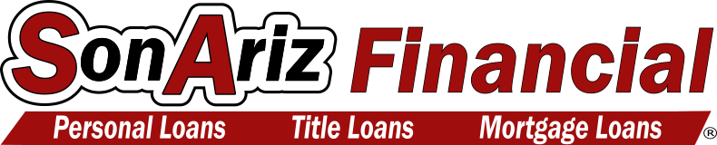 SonAriz Financial Logo with personal loans, title loans, and mortgage loans